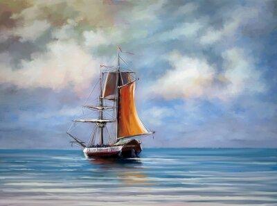 Obraz Statek, morze. Krajobraz. Obrazy cyfrowe olejowe.