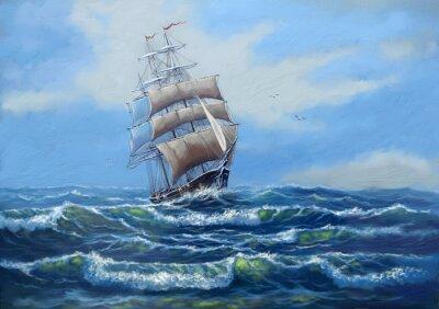 Obraz Statek, morze obraz olejny krajobraz, sztuka