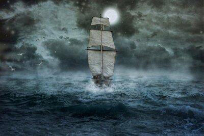 Obraz Statek, morze, ocean, niebieski, chmury, woda, żagiel, burza