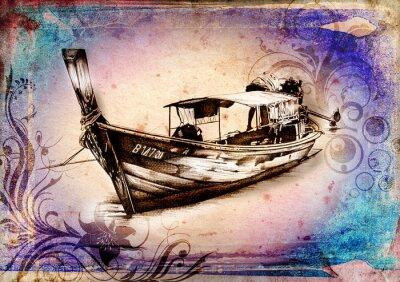 Obraz Statek na morzu lub ilustracji sztuki oceanu