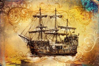 Obraz Statek na morzu lub ocean sztuki ilustracji