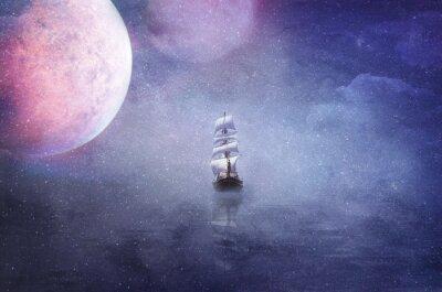 Obraz Statek w rozległości wszechświata ilustracji tła