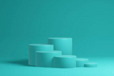 Obraz Stepped pedestal of six turquoise cylinders in studio lighting on turquoise background. 3d render.