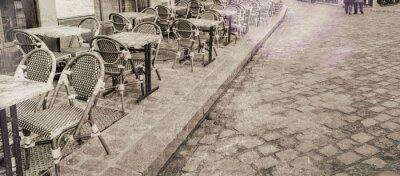 Obraz Stoliki na zewnątrz restauracja w Paryżu, rocznik view