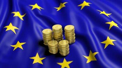 Obraz Stosy złotych monet euro na falistym flaga Unii Europejskiej