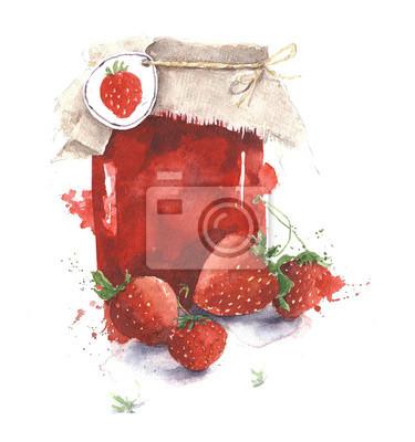 Strawberry jam jar akwarela ilustracji samodzielnie na białym tle
