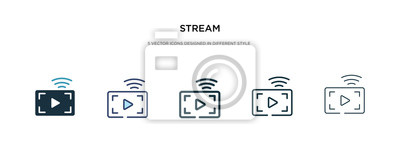 Obraz stream icon in different style vector illustration. two colored and black stream vector icons designed in filled, outline, line and stroke style can be used for web, mobile, ui