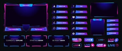 Obraz Streaming screen panel overlay design template neon theme. Live video, online stream futuristic technology style. Abstract digital user interface. Live streaming button. Vector 10 eps