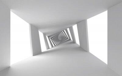 Obraz Streszczenie 3d tle z białym spiralnym korytarzem skręconych