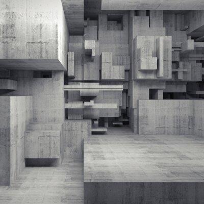 Obraz Streszczenie 3d wnętrze z betonowych kostek chaotycznych