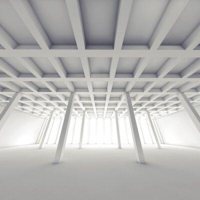 Obraz Streszczenie architektura, pusty biały pokój 3 d