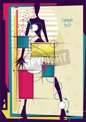 Obraz Streszczenie dziewczyny w jasnym tle mody. Miejsce dla tekstu. ilustracji wektorowych.