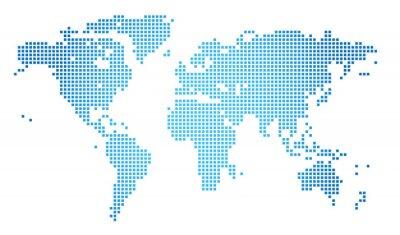 Obraz Streszczenie ilustracji wektorowych przerywaną mapa świata