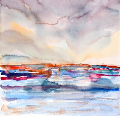 Obraz Streszczenie kolorowe krajobraz akwarela malowane