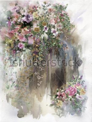 Obraz Streszczenie kwiaty na ścianie akwarela malarstwo. Wiosna wielobarwne kwiaty