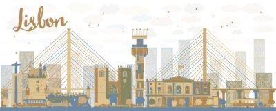 Obraz Streszczenie Lizbona panoramę miasta z brązowych i niebieskich budynków