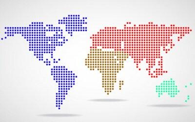 Obraz Streszczenie mapa świata okrągłych kropek