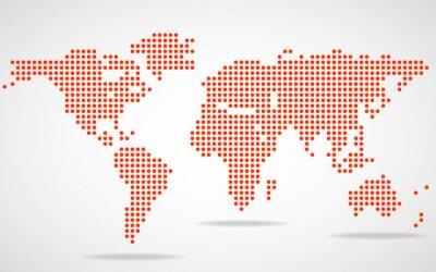 Obraz Streszczenie mapa świata okrągłych kropek. ilustracji wektorowych. ePS 10