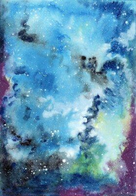 Obraz Streszczenie miejsca akwarela z rozgwieżdżonego nieba i chmur gazowych