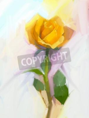 Obraz Streszczenie? Ó? Ty kwiat ró? Yz zielonym li? Ciem obraz olejny. Ręcznie malowane kwiatowe w miękkich kolorach i zamazane tło stylu