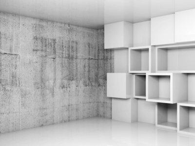 Obraz Streszczenie puste wnętrza tło z białymi kostkami