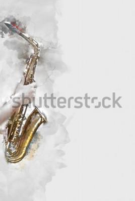 Obraz Streszczenie saksofon na pierwszym planie. Bliska, jazzowa farba akwarelowa grająca na saksofonie.