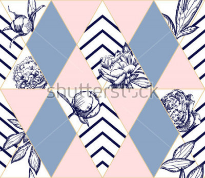 Obraz Stylowy modny wzór geometryczny z kwiatami piwonii. Idealna tekstura dla mody. Element projektu wektorowego