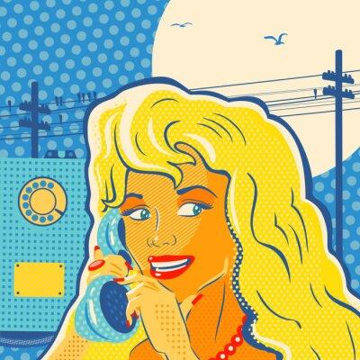 Obraz Stylu pop dziewczyny z telefonu