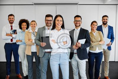 Obraz succesful business team smiling teamwork corporate office colleague
