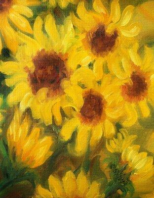 Obraz Sunny Sunflowers  Oil painting on canvas.