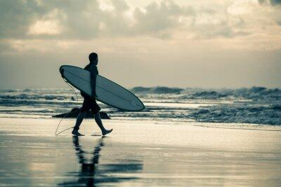 Obraz surfer silhouette during sunset