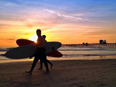 Obraz Surfers Zachód Oceanside Pier Beach San Diego w Kalifornii USA