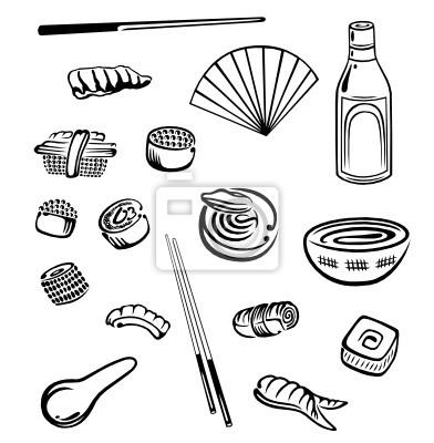 Obraz Sushi, japoński żywności, wektor zestaw