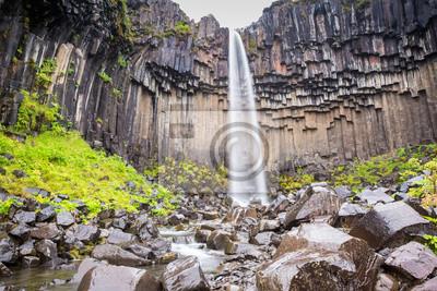 Svartifoss, krajobraz z pięknym wodospadem Islandii