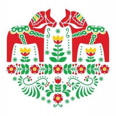 Obraz Swedish Dala or Daleclarian horse floral folk pattern