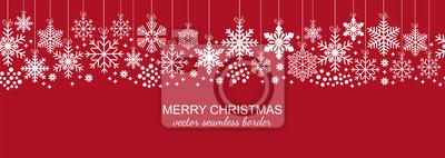 Obraz Świąteczna biała bezszwowa płatek śniegu granica odizolowywająca na czerwonym tle, boże narodzenie projekcie dla pocztówki lub kartka z pozdrowieniami. Wektorowa ilustracja, wesoło xmas płatka śniegu