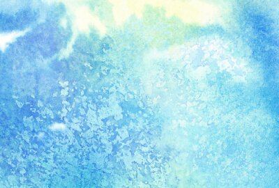 Obraz Światło abstrakcyjne niebieskie plamy akwarela malowane lub Chmura, Niebo