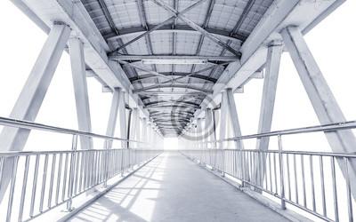 Obraz Światło z drodze z nowoczesnym mostem konstrukcji metalowych