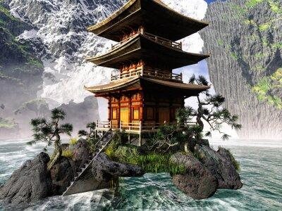 Obraz Świątynia buddyjska w górach skalistych