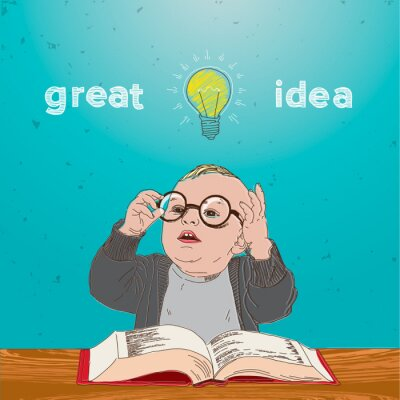 Obraz Świetny pomysł, dziecko z książką i żarówki nad głową