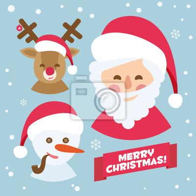 Obraz Święty Mikołaj, renifery i bałwan. niebieski Merry Christmas karty wektorowy