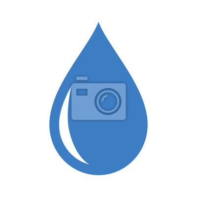 Obraz Świeża woda deszczowa kropla płaskim ikona aplikacji