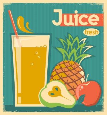 Obraz świeże owoce juice.Vector archiwalne karty