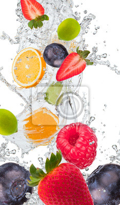 Obraz Świeże owoce w plusk wody