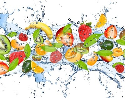 Obraz Świeże owoce w plusk wody, na białym tle