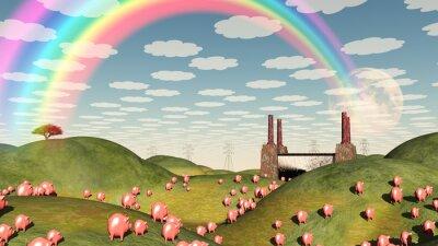 Obraz Świnie poruszać się jak lemingi ku fabryce