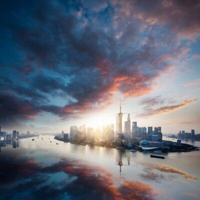 Obraz świt mieście