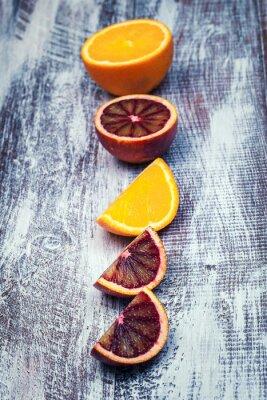 Obraz Sycylijskiej pomarańczy na tle drewna