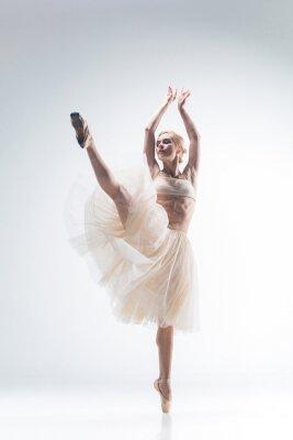 Obraz Sylwetka baleriny na białym tle