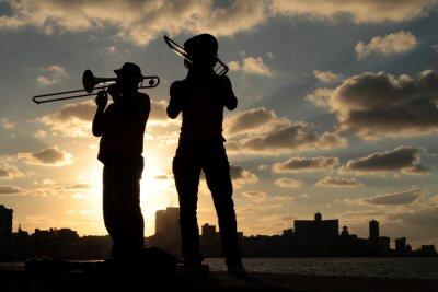 Obraz Sylwetki de la ville musiciens devant de La Havane